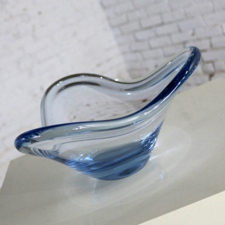 Holmegaard Per Lutken Fionia Centerpiece Bowl in Blue Mid Century Modern