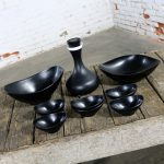 MCM Genie Black Carafe by David Douglas and Black Plastic Salad Set by Styson Art Products