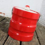 Mid Century Modern Ice Bucket Red Faux Patent Leather and White Plastic with Daisy Knob