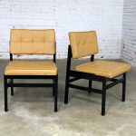 Pair Hibriten Ebonized Wood and Faux Leather Mid Century Modern Chairs