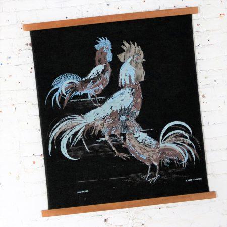 Robert Bushong Silkscreen Wall Scroll Chanticleer for Tom Tru Raymor Mid Century Modern