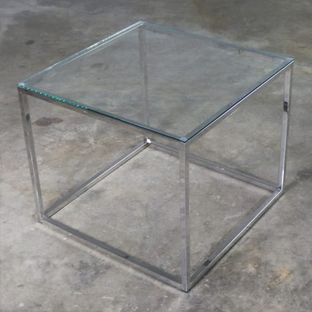Chrome Cube End Table with Glass Top Manner of Milo Baughman