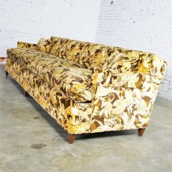 Mid Century Four Cushion Lawson Sofa in Jack Lenor Larsen Style Velvet