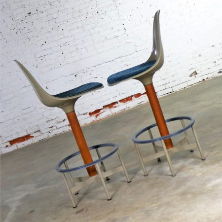 Pair of Burke Swivel Bar Stools Mid Century Modern Fiberglass Shell and Upholstered Seat Pads