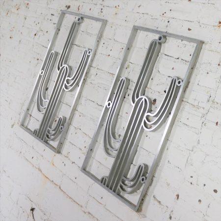 Saguaro Cactus Window Grills Vintage Cast Aluminum Pair