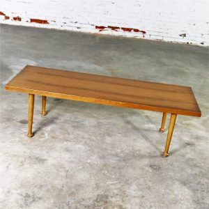Mid Century Western Ranch Oak Style Plank Coffee Table with Bow Tie Detail