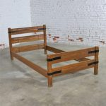 Two Ranch Oak Western Cowboy Twin Beds with Strap Details Attributed to A. Brandt Company