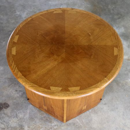 Lane Acclaim Dovetail End Table with Round Top and Hexagon Cabinet Base by Andre Bus