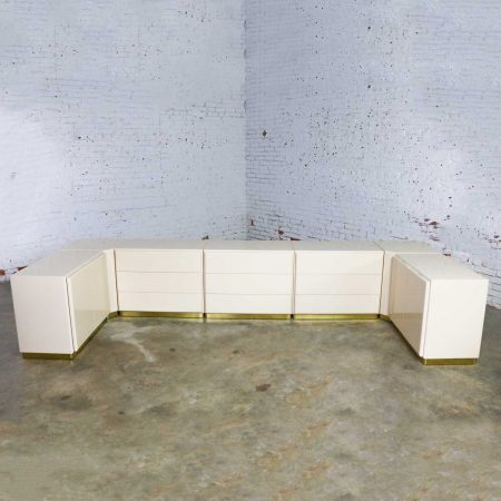 Milo Baughman for Thayer Coggin Ivory Lacquered Set of 7, 5 Cabinets & 2 Corner Units on Brass Bases