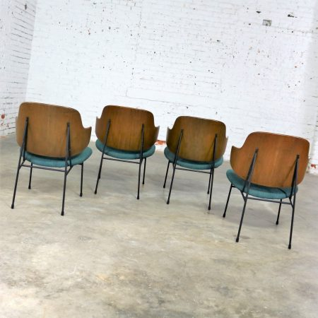 Set of Four Ib Kofod-Larsen Penguin Chairs with Walnut Molded Backs and Turquoise Seats