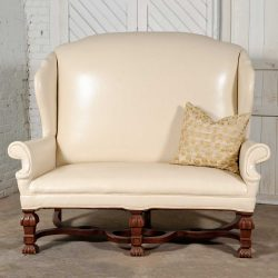 Antique William and Mary Wingback Settee White Faux Leather Solid Wood Ornate Base & Feet