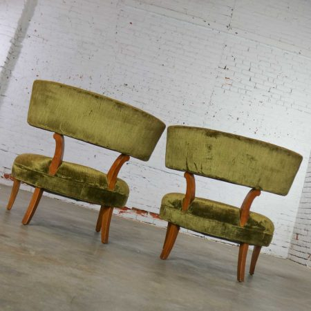 Hollywood Regency Pair of Slipper Chairs Style of Lorin Jackson for Grosfeld House