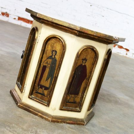 Vintage Hand Painted Octagon Drum Side Table Cabinet Attributed to Artes De Mexico