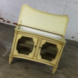 Hollywood Regency Dry Bar Liquor Cabinet Mid Century with Golden Glo Finish