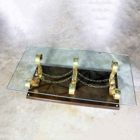 Large Rectangular Glass Top Hollywood Regency Spanish Revival Coffee Table Style of Arturo Pani