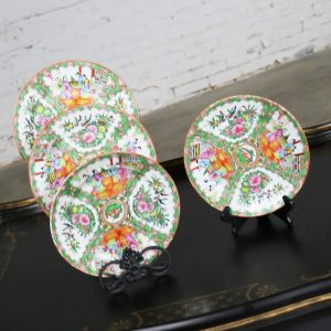 Antique Chinese Qing Rose Medallion Porcelain Nine Inch Plates Traditional Design Perfect Set of Four