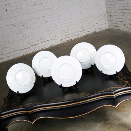 Antique Chinese Qing Rose Medallion Porcelain Nine Inch Plates Set of 5 Imperfect