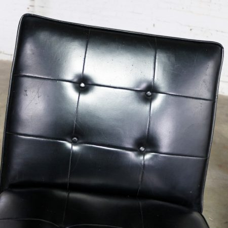 Paoli Chair Co. Black Naugahyde and Chrome MCM Slipper Chairs Style of Florence Knoll a Pair