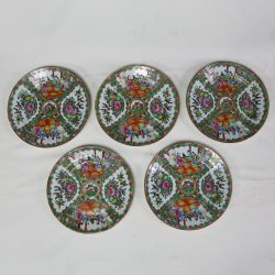 Antique Chinese Qing Rose Medallion Porcelain Nine Inch Plates Set of 5 Imperfect