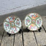 Antique Chinese Qing Rose Medallion Porcelain 8.5 Inch Plates Set of 2