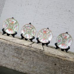Antique Chinese Qing Rose Medallion Porcelain 6 Inch Plates Set of 4