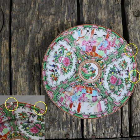 Antique Chinese Qing Rose Medallion Porcelain 7.25 Inch Plates Set of 5