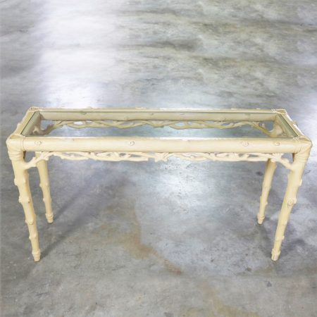 Carved Wood Faux Bois Sofa Console Table with Ivory Painted Finish and Glass Top Insert
