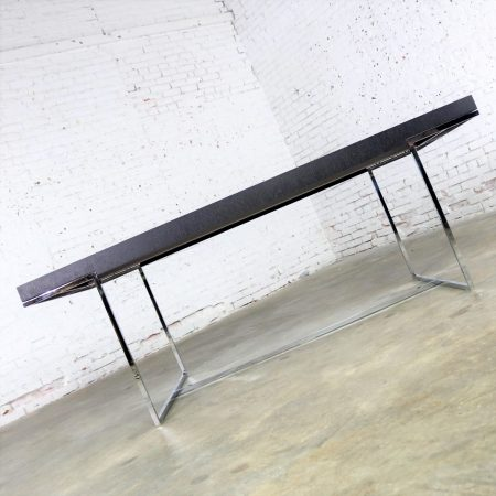 Athos Dining Table by Paolo Piva for B and B Italia Chrome and Dark Brown Oak