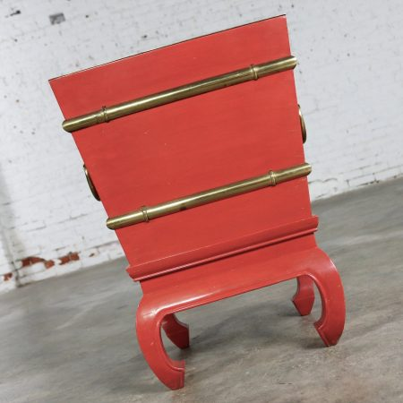 Chinese Red Lacquer and Brass Accent Table Removable Ice Chest Style on Hoof Foot Base