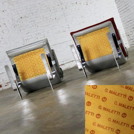 G. Maletti Lounge Chairs in the Style of Onda by Giovanni Offredi for Saporiti Italia