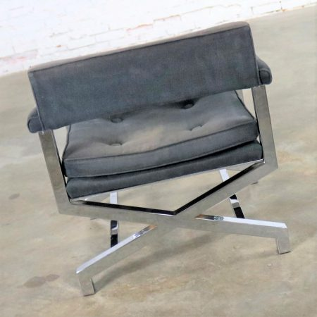 Chrome X Base Director Style Lounge Chair Attributed to Milo Baughman