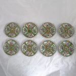 Antique Chinese Qing Rose Medallion Porcelain 6-Inch Cupped Plates Set of 8