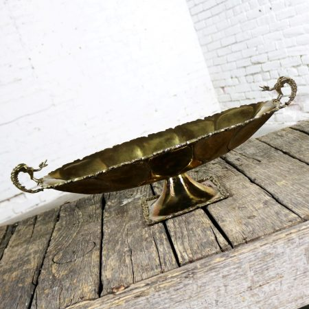 Hand Wrought Brass Centerpiece Compote Bowl with Cast Details and Dragon Handles Monumental