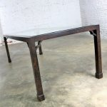 Chinoiserie Parsons Style Dining Table Faux Tortoise Shell Oil Drop Finish Glass Insert