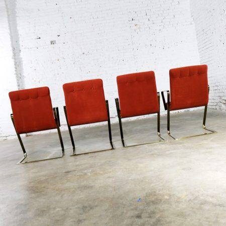Z Frame Brass Plate Dining Chairs Style Milo Baughman Burnt Orange Velvet Set of Four
