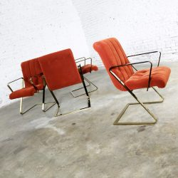 Z Frame Brass Plate Dining Chairs Style Milo Baughman Burnt Orange Velvet Set of Four