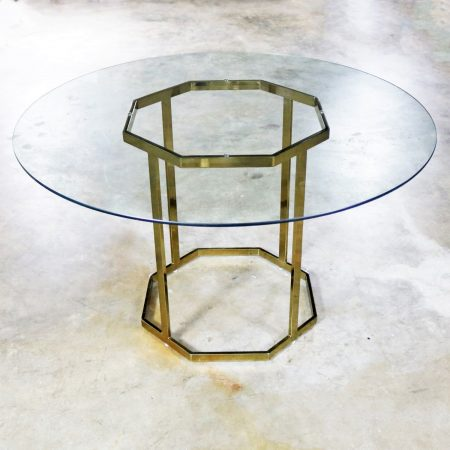 Milo Baughman Style Octagon Brass Plated Metal Dining Table with Round Glass Top