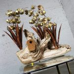 Torch cut Brutalist Floral Copper and Brass Sculpture on Driftwood