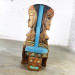 Witco Female Tiki Chair with Carved Tiki Females Mid Century Sky Blue Velvet Upholstery