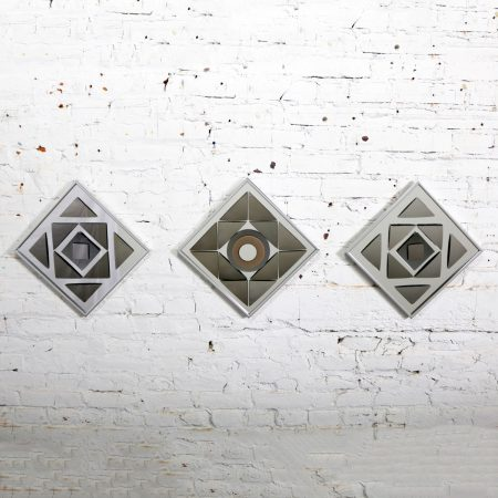 Pop Art Op Art Geometric Trio of Framed Mirror Wall Sculptures by Hal Bienenfeld