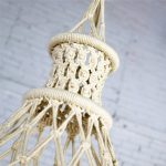 Vintage Bohemian White Macramé Hanging Table with Round Glass Top