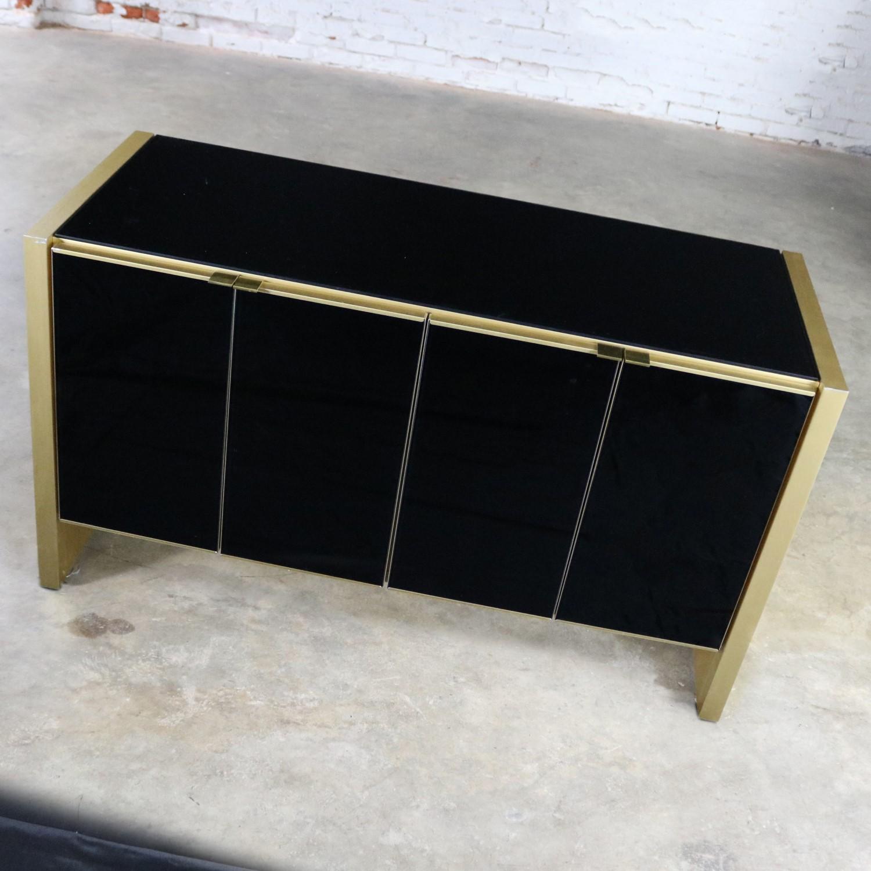 Ello Black Glass and Gold Anodized Aluminum Small Server