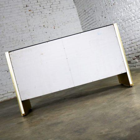 Ello Black Glass and Gold Anodized Aluminum Small Server Credenza Cabinet