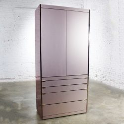 Ello Optima Brass and Rose Gray Glass Wardrobe Entertainment Storage Cabinet