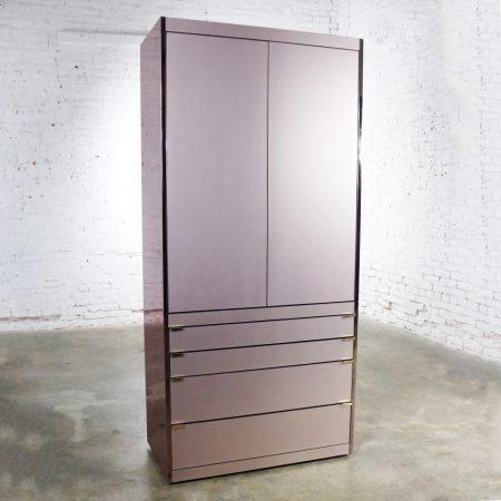 Ello Optima Brass and Rose Gray Glass Wardrobe Entertainment Storage Cabinet