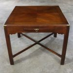 Campaign Style Square Side or End Table with Pull-Out Shelf and Brass Accents