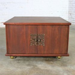Square Mid Century Walnut Rolling End Table Storage Cabinet on Brass Ball Casters