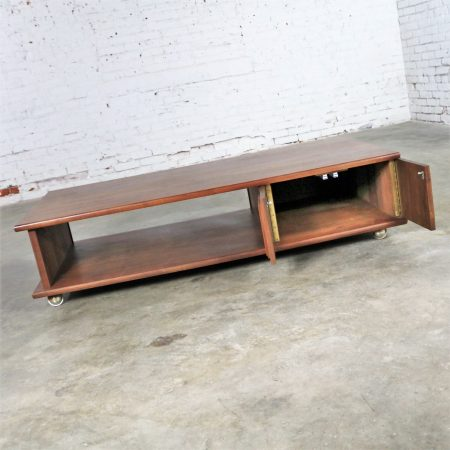 Low Slung Walnut Mid Century Rectangular Coffee Table with Storage on Casters