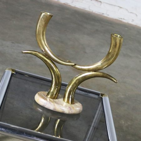 Brass Horn or Tusk Shaped Double Candle Holder on Oval Stone Base