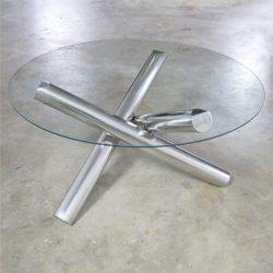 Tubular Stainless-Steel Jacks Tripod Coffee Table Round Glass Top Style of Milo Baughman